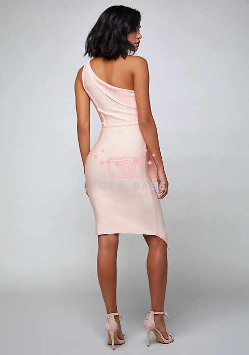 Herve LEGER BABE 2019 одно плечо Разделение низ Молния сзади довольно элегантные вечерние драпированные Бандажное платье по колено Bodycon Вечерние платья