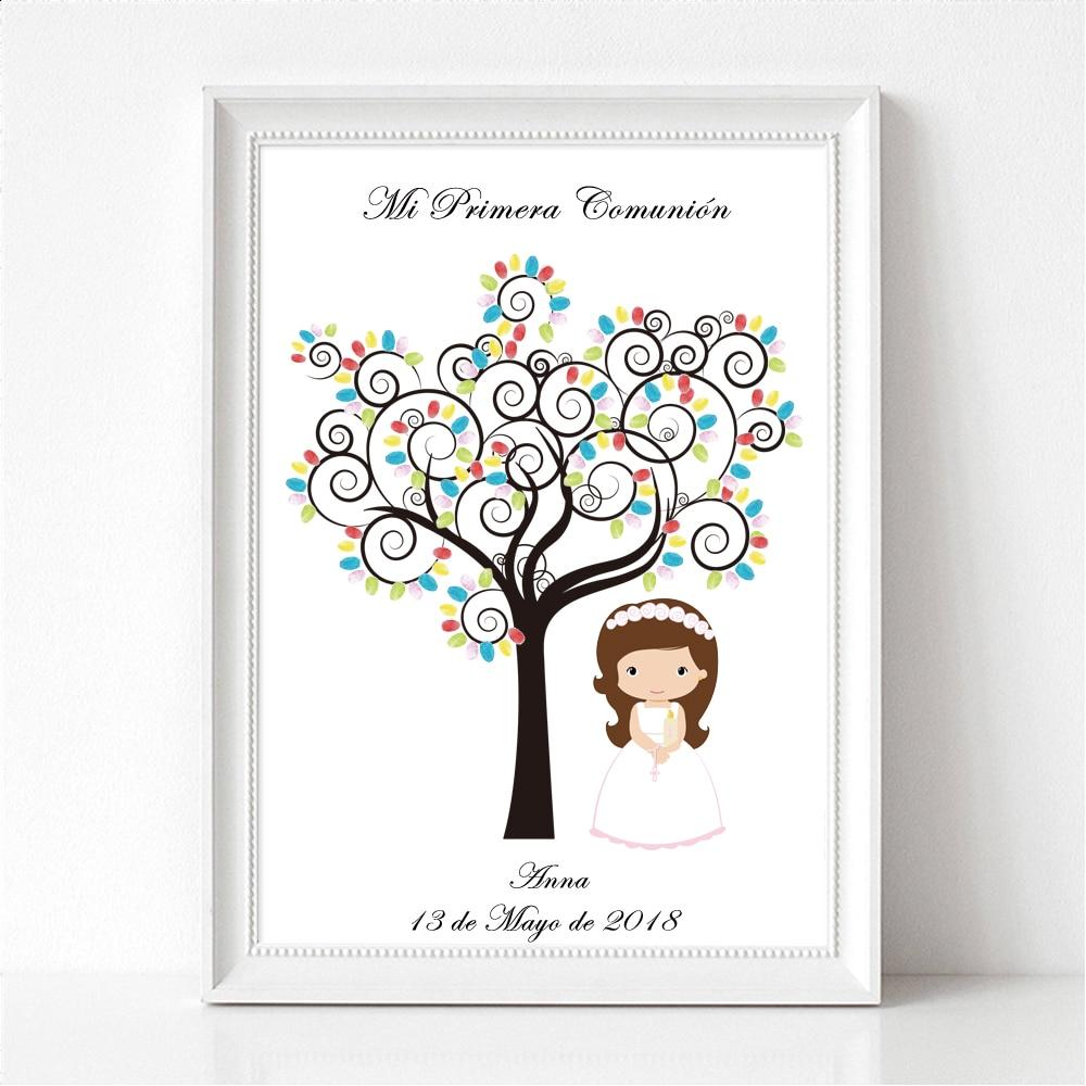Us 612 30 Offpersonalisierte Erste Heilige Kommunion Geschenk Für Mädchen Jungen Taufe Taufe Fingerprint Baum Andenken Leinwand Kunstdruck