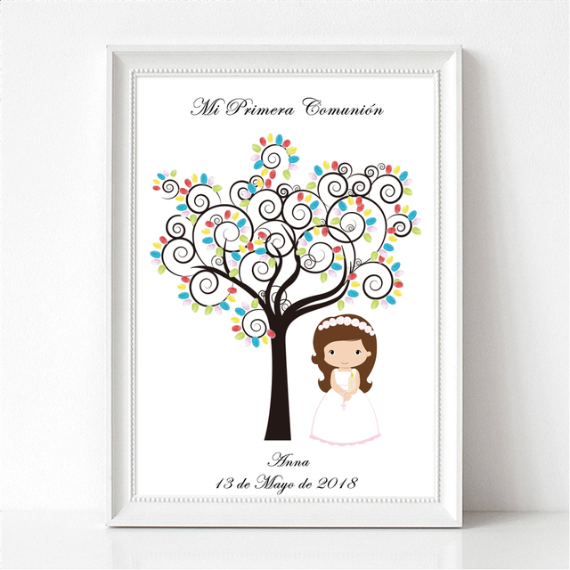 Personalized First Holy Communion Gift For Girl Boy's Baptism Christening Fingerprint Tree Keepsake Canvas Art Print & Ink