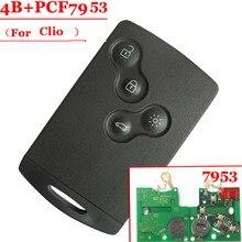 무료 배송 (1 pcs) Renault Clio 스마트 카드 용 pcf7953 433mhz 4 버튼 스마트 카드 우수한 품질