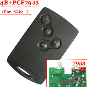 Shipping free (1 pcs ) 4 Button smart card with pcf7953 433mhz for Renault  Clio  Smart Card  Excellent Quality