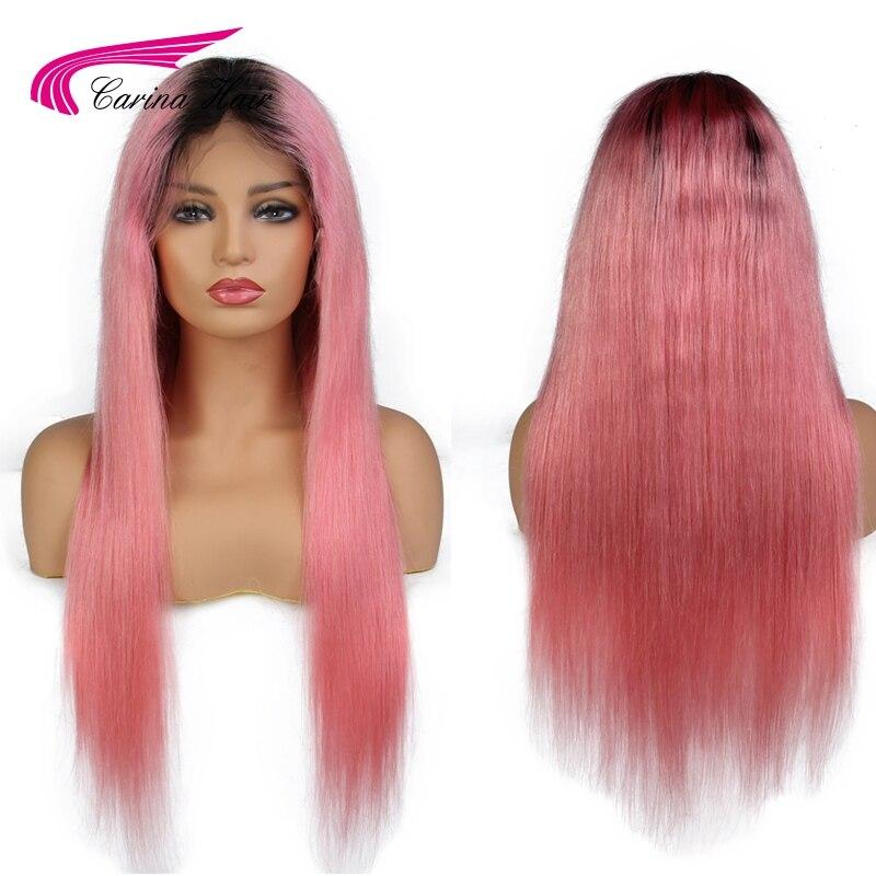 Карина Ombre розовый цвет синтетические волосы на кружеве натуральные волосы парик с ребенком волос предварительно сорвал волосяная линия во...
