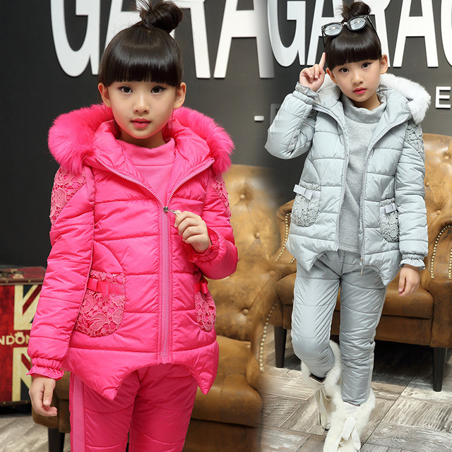 bb3e6ffa33ae 2017 New Children s Winter Suits Baby Girls Outdoor Wear Hooded Vest ...