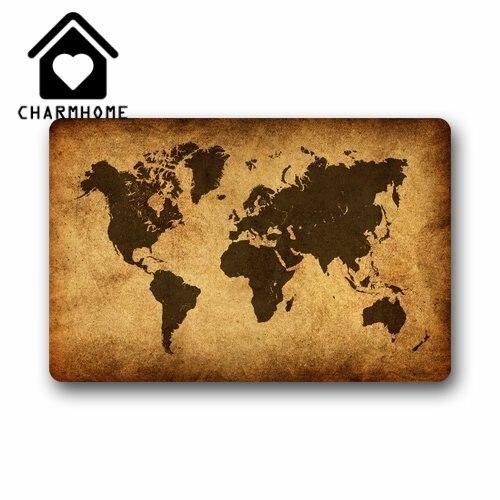 CHARMHOME Fashion Vintage World Map Door Mat IndoorOutdoor Decor - Old world map rug