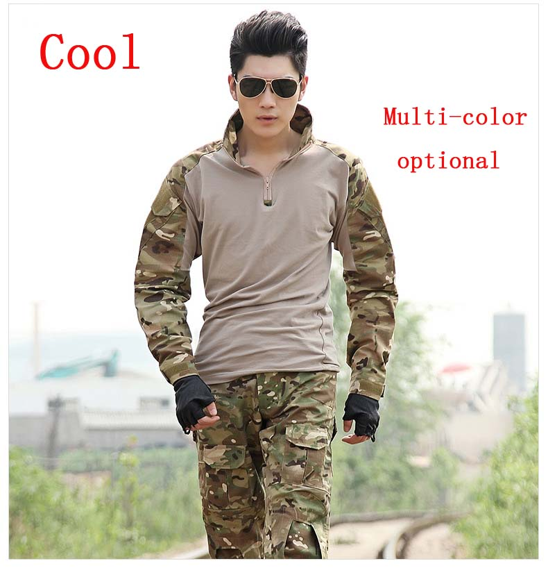 Military Tactical Army Uniform With <font><b>Knee</b></font> Pads Jacket+Pants Suit Clothing Camouflage Sets Outdoor Hunting Combat Airsoft Uniform