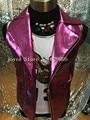 Brillante Estilo de Hiphop Jazz Rosa Chaleco De Cuero Chaqueta Masculina Ropa Discoteca Ds Dj Cantante traje Del Funcionamiento Del Traje Punky prendas de Vestir Exteriores