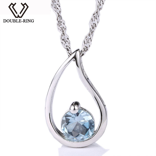 85cc0d88c3f318 DOUBLE-R New Charms Pendants Natural Blue Topaz Pendant Women Water Drop  Sterling Silver Necklace Fine Jewelry Gift CAP01644E