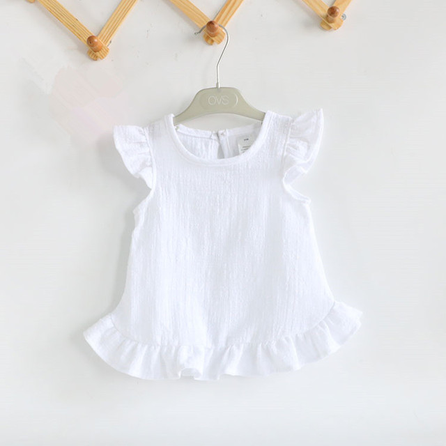 Ruffle Sleeve Summer Girls Blouses Tops Linen Cotton Lace Casual Baby Girl Shirts for Children Kids Clothing Shirts Dress