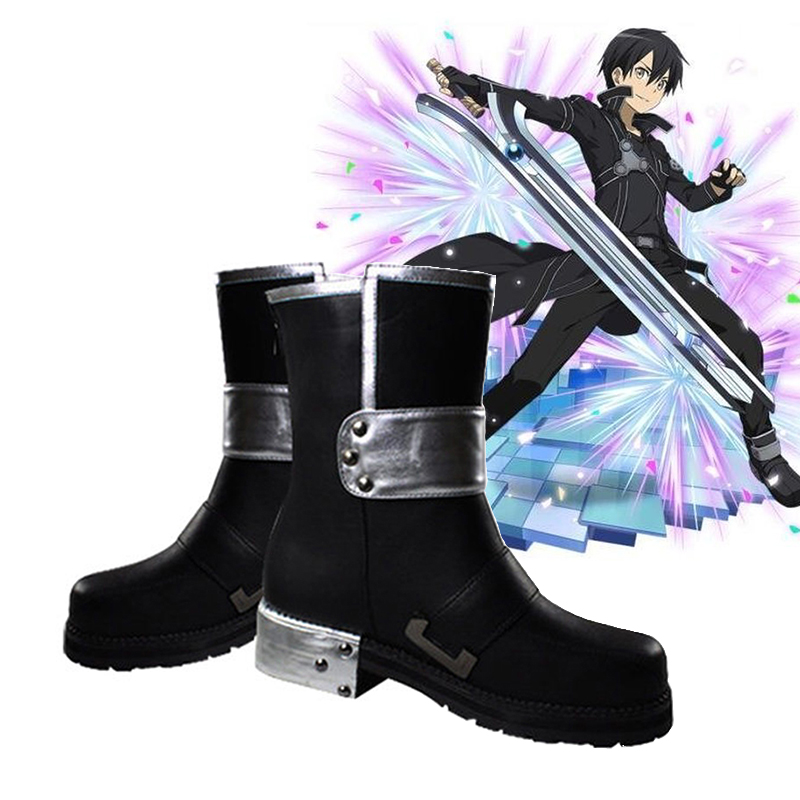 Anime Sword Art Online Cosplay Shoes Unisex Kazuto Kirigaya Cosplay Shoes PU Boots Halloween Carnival Party