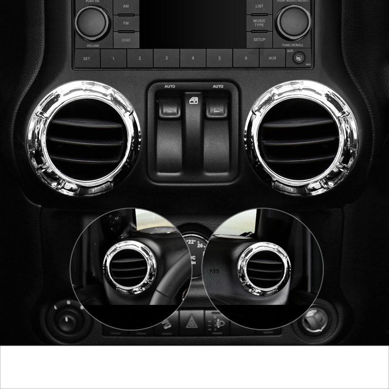 lsrtw2017 abs car dashboard air conditioner vent ring trims for jeep wrangler 2011 2012 2013 2014 2015 2016 2017 in Interior Mouldings from Automobiles Motorcycles