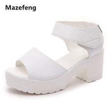 Mazefeng nowe białe sandały damskie Hook amp Loop damskie buty na wysokim obcasie damskie buty damskie EVA damskie casualowe sandały wycięcia sandały czarne tanie tanio Dla dorosłych Moda Pokrywa heel Gladiator Pasuje prawda na wymiar weź swój normalny rozmiar Otwarta 0-3 cm Na co dzień
