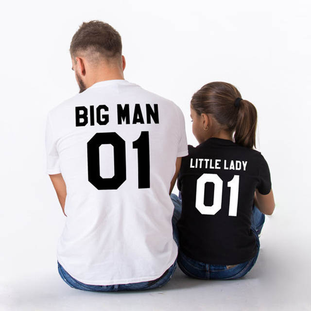 c495e6694327c5 placeholder Daddy Baby Shirts Father and Daughter Son Clothes Matching  Outfits Big Man Little Lady Man Pattern