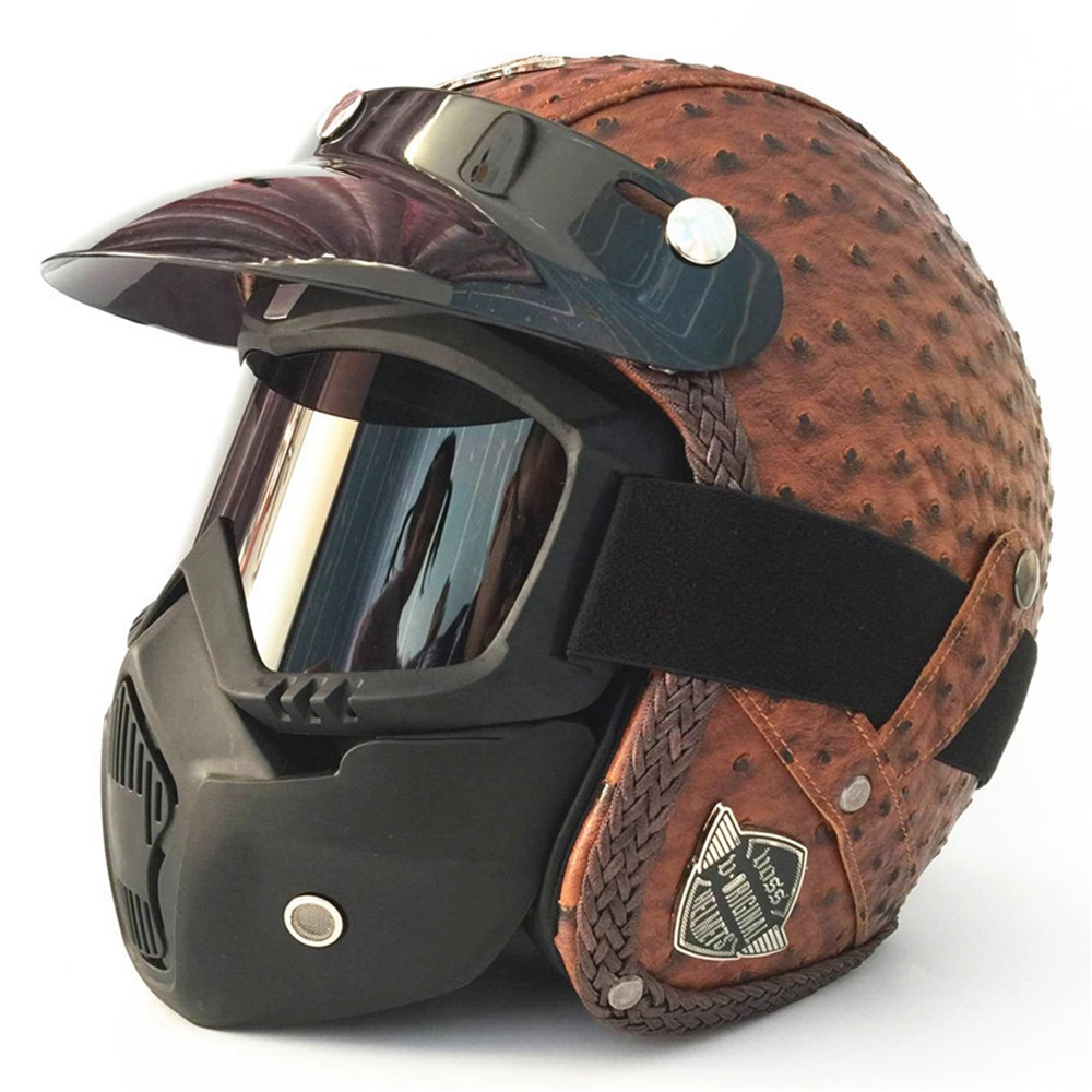 Full Face Motorcycle Helmets for Harley Yamaha etc Vintage Moto Motocross Helmets Retro Motorbike Scooter Mask
