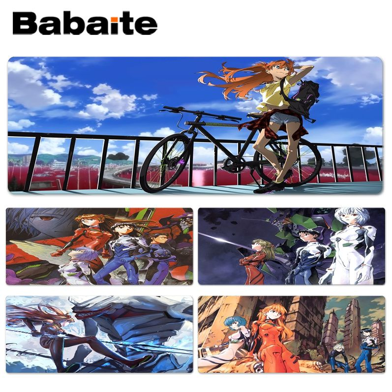 Babaite Printed Neon Genesis Evangelion Beautiful Anime Lockedge Mouse Mat Size for 300*600*2mm and 400*900*2mm Game Mousepad