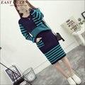 Otoño invierno cálido Mujeres vestido de punto de lana trajes de falda 2 unidades adapte conjuntos vestido AA1450X