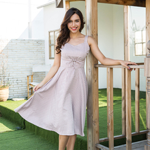 Summer hot new Italian country style casual high waist strap temperament loose female dress