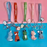 Dayoff Lovely Animal Fox Frog Koala Pig Keychain Keyring For Women Jewelry Cute Silicone Doll Key Holder Keyring Gift K58