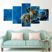 Painting Wall HD Printed Modular Framework 5 PiecesSet The Looking Glass Cat Picture Poster Art Canvas For Living Room