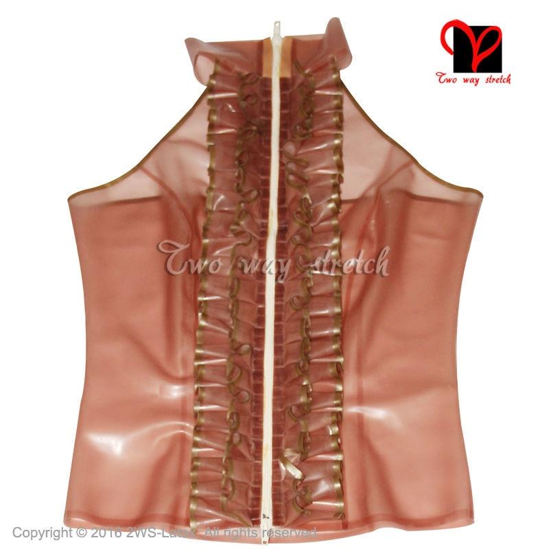 Sexy Transparent Brown Latex Blouse With ruffles Zipper Front Rubber shirt Gummi jacket Crop Top tank coat size XXXL SY 044 - 2