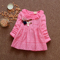 2017 Spring Baby Girl Dress Flower O Neck Long Sleeve Solid Color Girls Dresses Princess Dress 0-3 Children's Clothing Wholesale