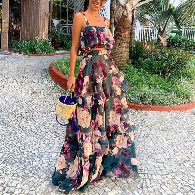 2019 Women Summer Dress Sexy Bohemian Beach Dresses Casual Print Chiffon Long Plus Size Dress