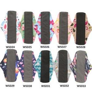 Image 4 - Многоразовые гигиенические прокладки для женщин, 5 шт., многоразовые гигиенические прокладки, абсорбирующие многоразовые бамбуковые менструальные прокладки для угля, моющийся Санитарный Полотенце