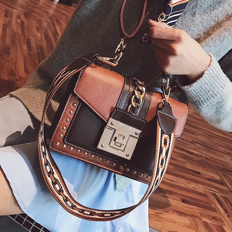 British Retro Square bag Womens Designer Handbag 2018 Fashion High-quality PU Leather Women bag Hit color Rivets Shoulder bags