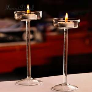 MagiDeal Glass Taper Candle Holder Votive Candle Stand