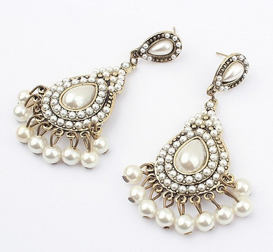 Free Shipping Hot In 2017 Chandelier Earrings Pearl White Fashion Jewellery For Women Size