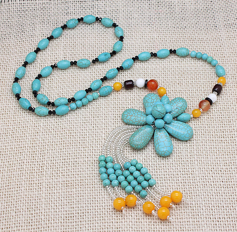 Elegant amazing 2015 handmade flower beaded long necklaces Trendy womens gifts 2015