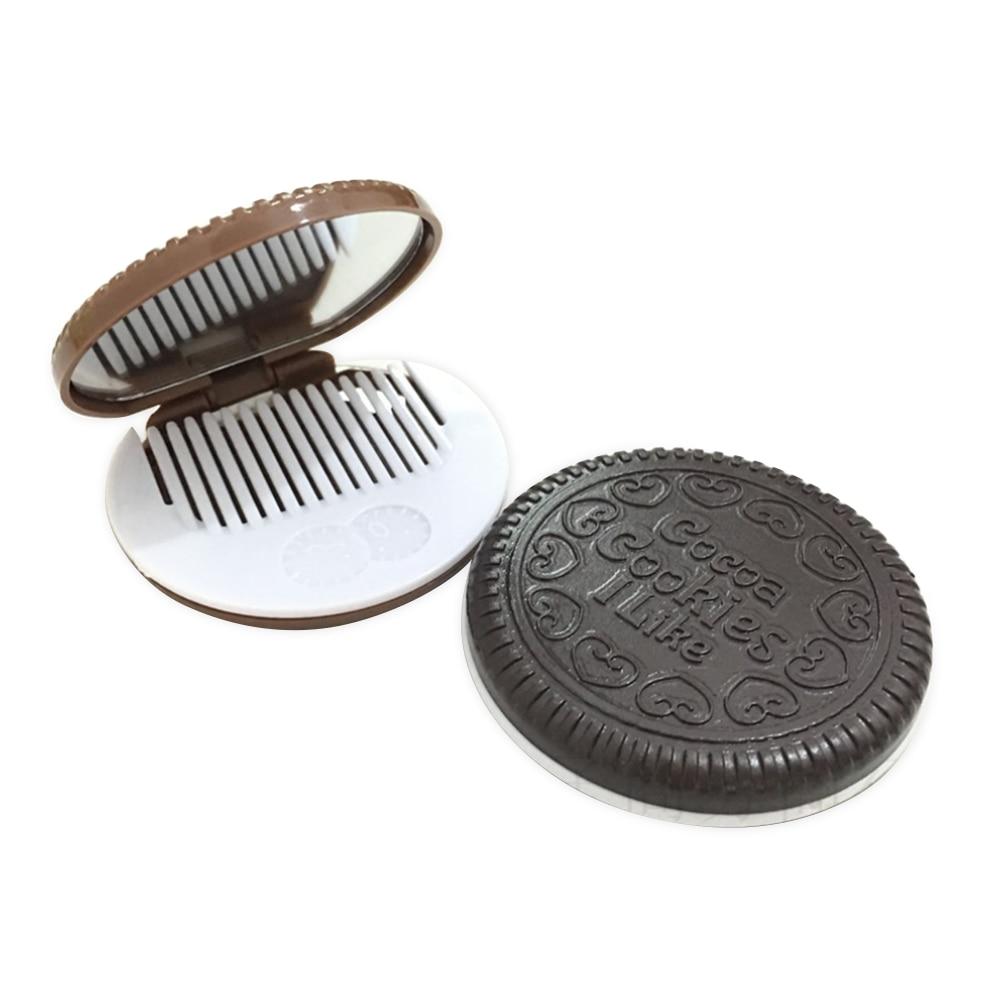 1 قطعة صغيرة مرآة لوضع مساحيق التجميل باليد أضعاف صغيرة المحمولة الكرتون الشوكولاته البسكويت سوبر لطيف المدمجة مرآة جيب