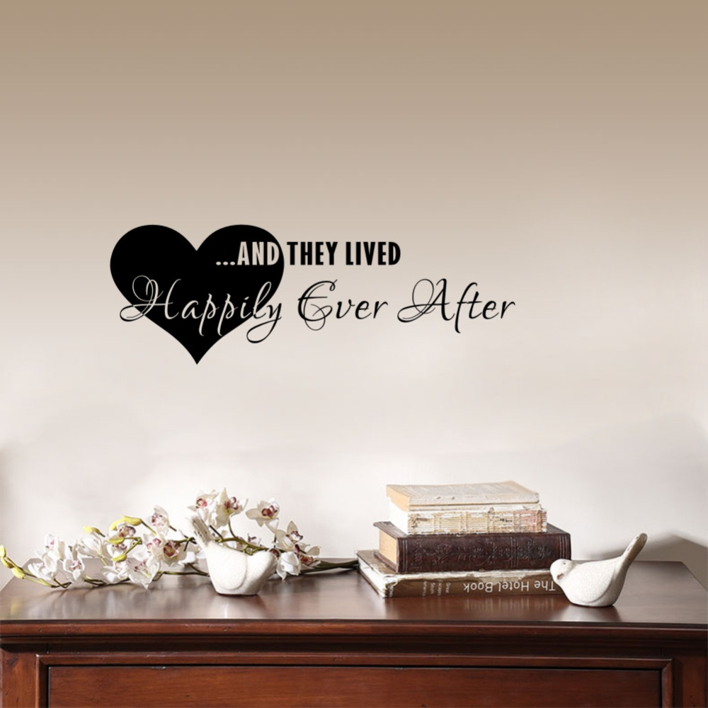 Love Quotes Wall Stickers They Lived Happily Ever After Wall Decal Poster Home Bedroom Decoration accessories image