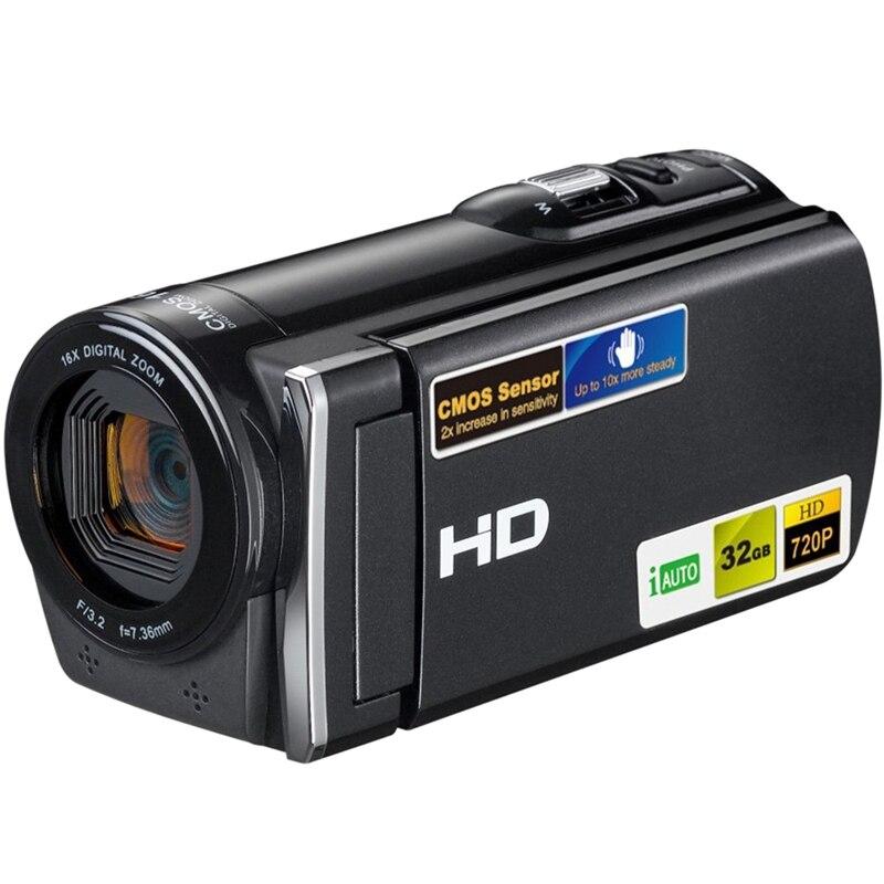 Portable Camcorder Full Hd Digital Camera 5 Million Cmos Pixels 3.0 Inch Tft Display 16X Zoom Support Sd Card 32Gb(Eu Plug)
