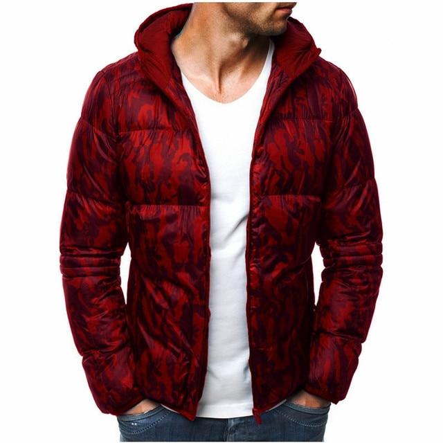 Best Offers 2018 White Duck Down Men's Winter Jacket Ultralight Down Jacket Casual Outerwear Snow Warm Fur Camouflage hooded down jacket