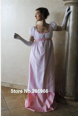Free Shipping Custom Two Color Round Gown Regency Jane Austen Ball Empire formal Dress day dress