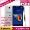 "Original lenovo a916 telefone mtk6592m octa núcleo móvel 1.4g multi-língua 4g FDD LTE Dual SIM Dual Standby 5.5 ""HD 1G RAM 8 GB ROM"