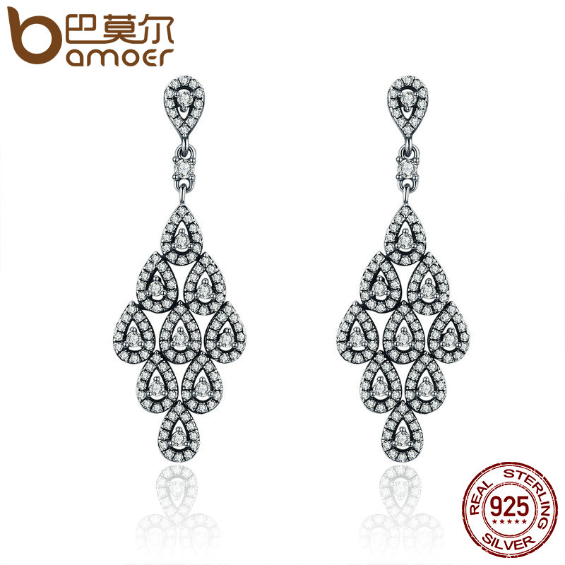 BAMOER 2018 Authentic 925 Sterling Silver Cascading Glamour Earrings, Clear CZ Earrings for Women Sterling Silver Jewelry PAS516 bamoer authentic 925 sterling silver red cz evil and angel pendant necklace earrings jewelry set sterling silver jewelry zh067