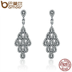 BAMOER 2018 Authentic 925 Sterling Silver Cascading Glamour Earrings, Clear CZ Earrings for Women Sterling Silver Jewelry PAS516