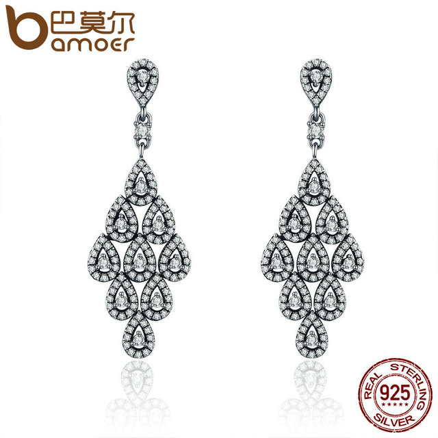 Bamoer 2018 Authentic 925 Sterling Silver Cascading Glamour Earrings Clear Cz For Women