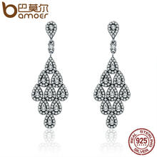 BAMOER 2018 Authentic 925 Sterling Silver Cascading Glamour Earrings, Clear CZ Earrings for Women Sterling Silver Jewelry PAS516(China)