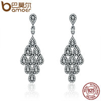 BAMOER 2018 Authentic 925 Sterling Silver Cascading Glamour Earrings Clear CZ Earrings For Women Sterling Silver