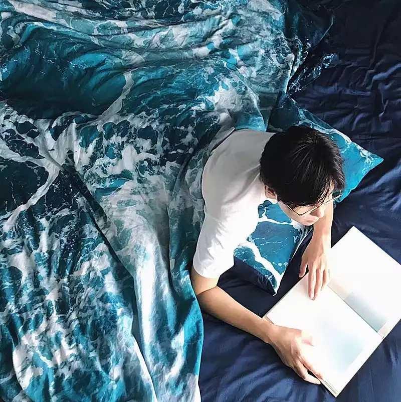 Creative Wave Print 100% Cotton Bedding Set 3/4pcs Include Duvet Cover Flat Sheet Pillowcase 1.2m/1.35m/1.8m/2m Home Textile