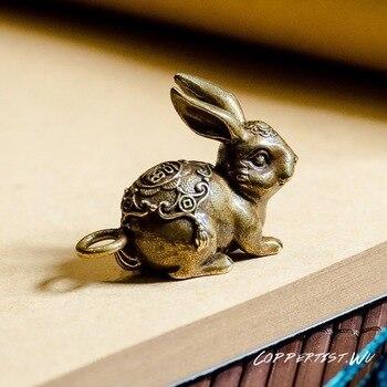 Coppertist. wu fortune bunny brązowy brelok mosiądz ręcznie brelok do kluczy złota mody zwierząt królik klucz torebka z pierścieniem wisiorek