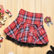 2017 Hot Sell New Fashion Popular Red Casual Scotland short skirts Student School Plaid Ball Gown