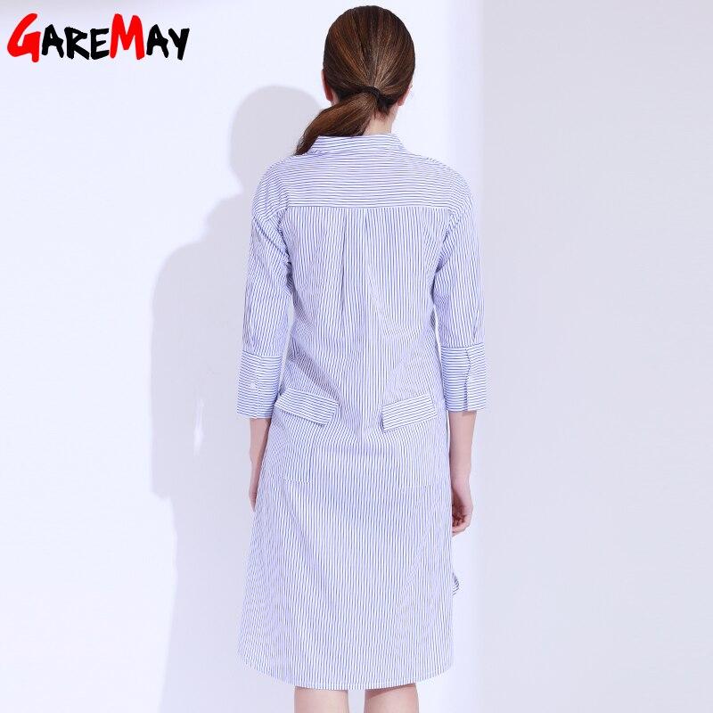 Skjorta klänning kvinnor randig mantel femme snörning tunika - Damkläder - Foto 3