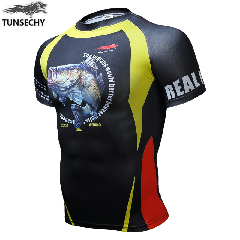 TUNSECHY Boutique man short sleeve Round collar T-shirt is tight for fitness fish 3D T-shirt printing products Free Shipping