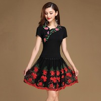 2017 Square Latin Dance Costumes 2Pcs Black Top Skirt Modal Women Cotton Skirt Salsa Costumes Red