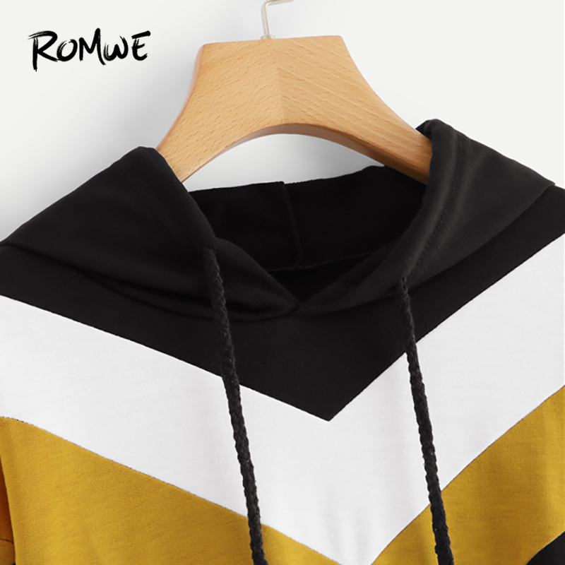 759278203a5a9 ROMWE Black Colorblock Drawstring Crop Hoodie Women Casual Autumn New Hooded  Long Sleeve Clothing Female Pullovers Sweatshirt-in Hoodies   Sweatshirts  from ...