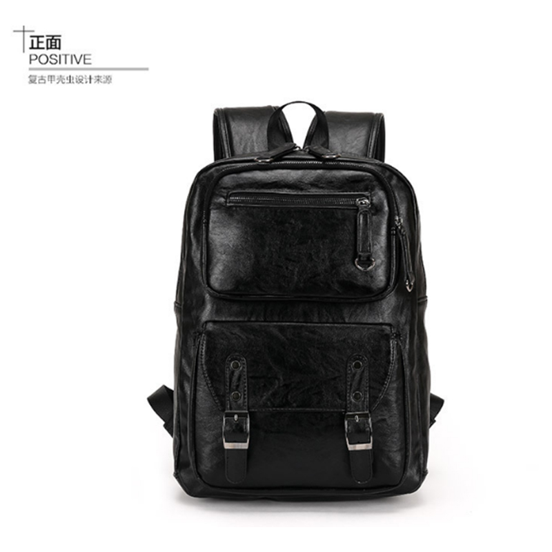 Simple Patchwork Large Capacity Mens Leather Backpack For Travel Casual Men Daypacks Leather Travle Backpack mochila black ...