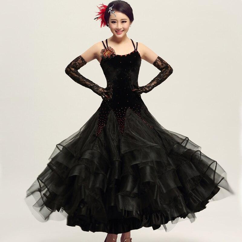 fashion Rushed New Led Costume Classic Vintage Adult Women Ballroom Waltz Tango Dance Dresses One Piece Long Dancing Dress Ylfe